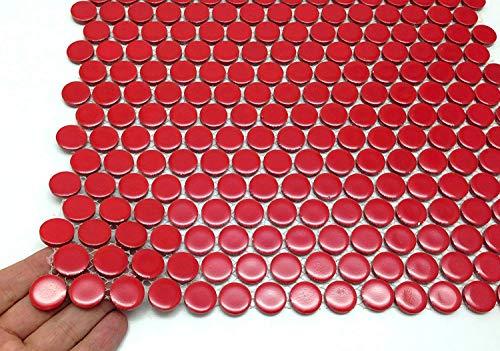Vogue Tile Penny Round Vintage Red Porcelain Mosaic for Bathroom Floors and Walls, Kitchen Backsplashes, Pool Tile