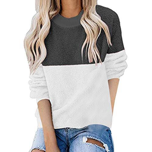 Yoyorule Women's Autumn Winter Warm Casual Long Sleeve Color Block Pullover Sweatshirt Fleece Tops Loose Plush Sweater