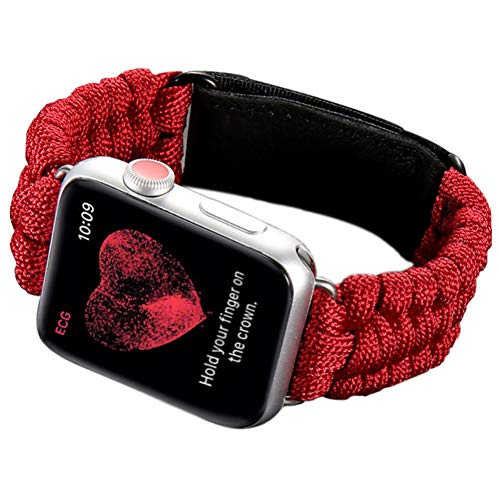 Crazy Panda - CRAZY PANDA Sport Band for Apple Watch Band 42mm 44mm, Durable Woven Nylon Quick Release Loop Breathable 550 Paracord Lifesaving Wristband for iWatch Series 4 3 2 1 - Red