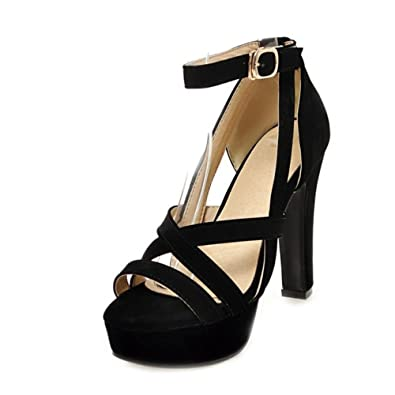 1d55640f8975 SJJH High Chunky Heel Sandals with Suede Materail Large Size Wedding Party Sandal  Shoes  Amazon.co.uk  Shoes   Bags