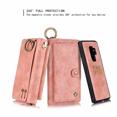 Galaxy S9 Plus Wallet Phone Case,GX-LV Samsung Galaxy S9 Plus Wallet Case Leather Case Cover Zipper Pouch with 14 Card Holder,Magnetic Detachable Case For Samsung Galaxy S9 Plus (Pink) by GX-LV (Image #1)