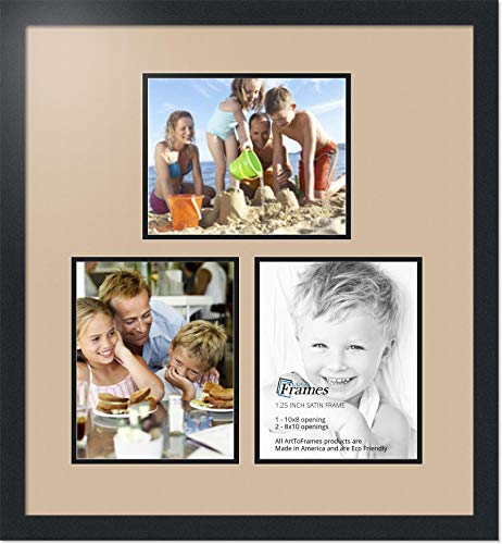 Art to Frames Double-Multimat-601-782/89-FRBW26079 Collage Photo Frame Double Mat with 3-8x10 Openings and Satin Black Frame