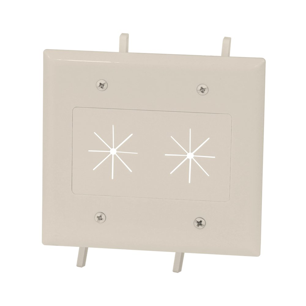DataComm Electronics 45-0015-LA Cable Plate with Flexible Opening, 2 Gang