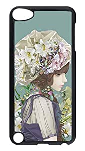 Brian114 Case, iPod Touch 5 Case, iPod Touch 5th Case Cover, Cartoon Girl With Flowers Retro Protective Hard PC Back Case for iPod Touch 5 ( Black )
