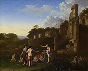 high quality polyster Canvas ,the Imitations Art DecorativeCanvas Prints of oil painting 'Cornelis van Poelenburgh Women bathing in a Landscape ', 12 x 15 inch / 30 x 38 cm is best for Bathroom decoration and Home decoration and Gifts