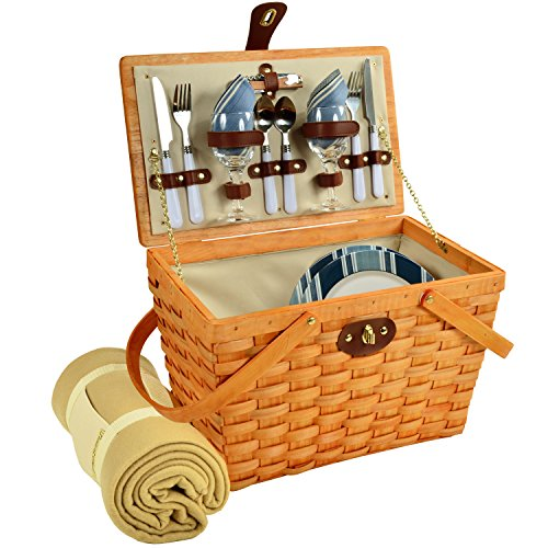 Picnic at Ascot Frisco Traditional American Style Picnic Basket With Blanket, Aegean