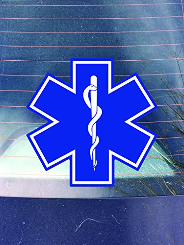 (EMT Star of Life Vinyl Decal Sticker | Cars Trucks Vans Walls Laptops Cups | Printed | 5.5 inches | KCD957)