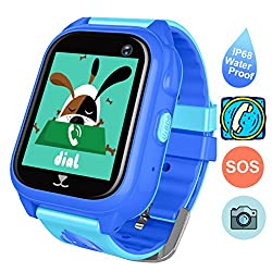 Waterproof Kids Smartwatch, Anti-lost Gps Tracker Smart Watch For Children Girls Boys Kids Birthday Gift Compatible For Iphone Android (Blue)