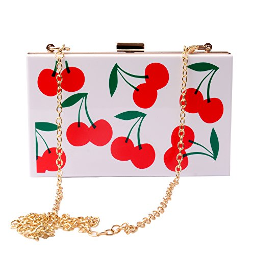 Handbags Wholesale Womens (Women Acrylic Cherry Evening Bags Purses Clutch Vintage Banquet Handbag (White))