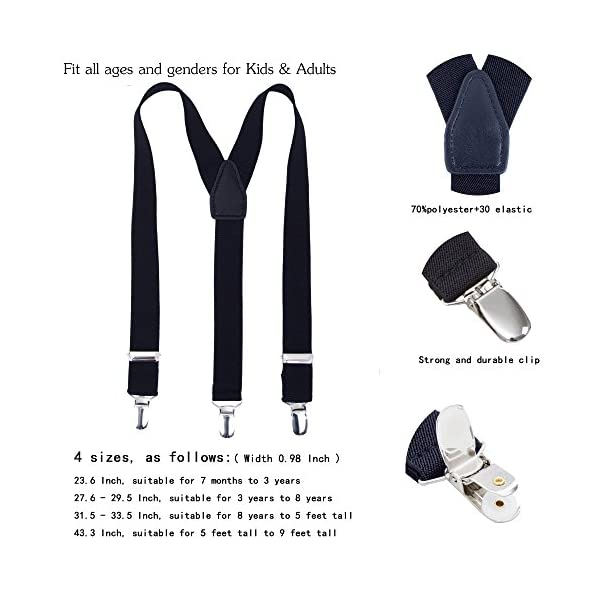 Suspenders for Kids Boys Girls Adjustable - Y Back Elastic Solid Color, Features Leather Crosspatch Childrens Suspenders