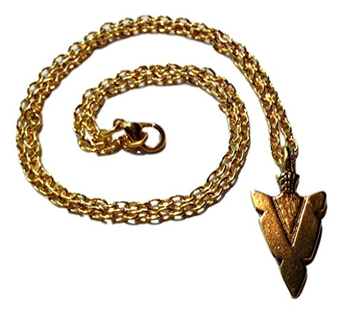 JB Vintage Striking Arrowhead Charm Necklace in Bright Gold Toned Overlay ()