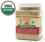 Pride Of India - Organic White Royal Quinoa - Protein Rich Whole Grain, 1.5 Pound Jar