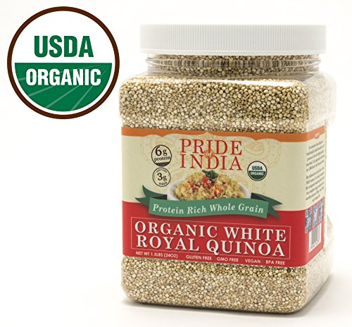 Pride Of India   Organic White Royal Quinoa   Protein Rich Whole Grain  1 5 Pound Jar
