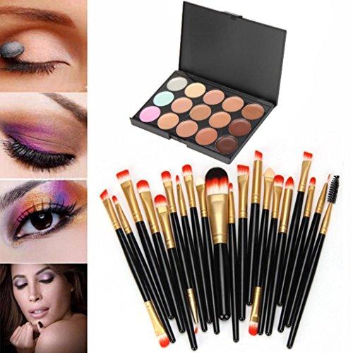 Nars Makeup Brush Flat Concealer (Kingfansion 15 Colors Contour Face Cream Makeup Concealer Palette Professional + 20 BRUSH (Black))