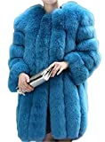 Womens Solid Color Thick Luxury Winter Long Fox Faux Fur Coat Jacket