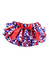 Vogholic Baby Girl Satin Ruffle Bloomers Diaper Cover Stars Bowknot Pants (L,Stars£©