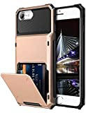 Vofolen Case for iPhone 8 6s 6 7 Case Wallet Credit Card Holder ID Slot Pocket Scratch Resistant Dual Layer Protective Bumper Rugged TPU Rubber Armor Hard Shell Cover for iPhone 6/6s/7/8 (Rose Gold)