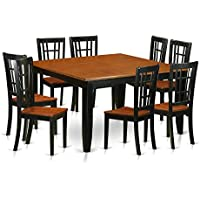 East West Furniture PFNI9-BCH-W 9 Piece Dining Table and 8 Solid Wood Chairs Set