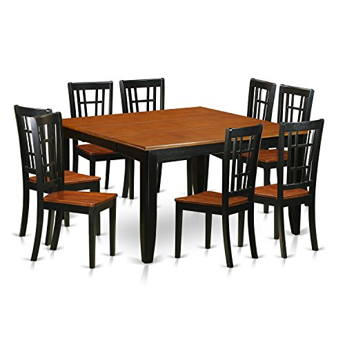 East West Furniture PFNI9-BCH-W 9 Pc Dining Room Set-Dining Table and 8 Wood Dining Chairs (Room 8 For Dimensions Table Dining)