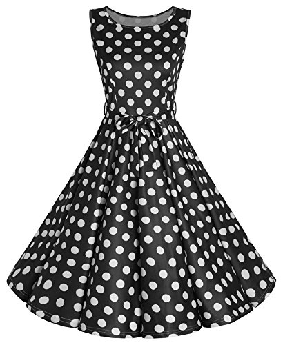 JustinCostume Women's Vintage 50s Dress Boat Neck Retro Dress 2X (50s Themed Party Costumes)