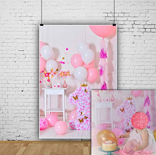 Ofila 1st Girls Birthday Decoration Backdrop 3x5ft Baby Girl First Birthday Photography Background Birthday Balloons Cake Smash Portraits Paper