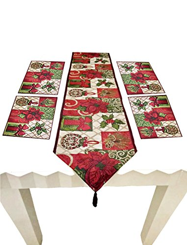 Shinybaby Christmas Tapestry Table Runner and Placemats with Poinsettia Pattern for Christmas Thanksgiving Day Easter, 5 Pieces Set (1 table runner +4 placemats),13 X 71inch (Table Runner Poinsettia)