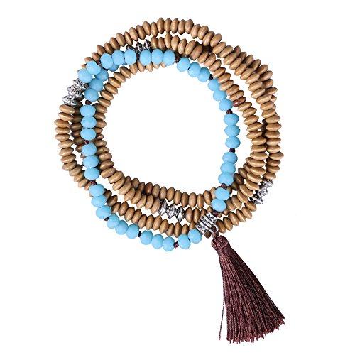KELITCH Wooden Beads Beaded Long Necklace Tassel Pendant Women Strand Bracelet For Summer Necklace (Light Blue) (Blue Light Pendant Turquoise)