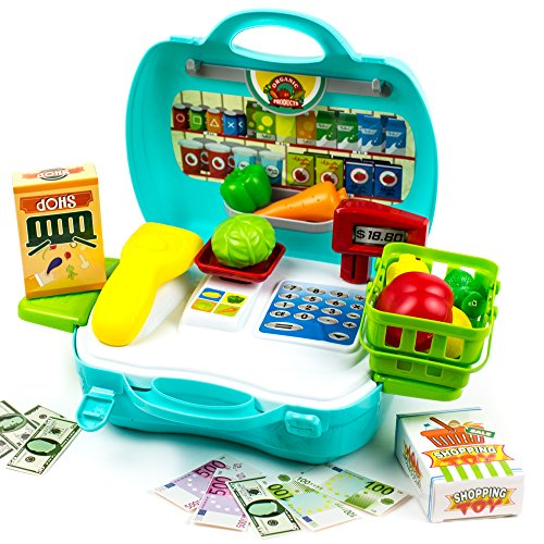 Toysery Dream The Suitcase Pretend & Play Teaching Cash Register Set & Play Traveling Suitcase Toy Storage for for Kids, Boys, Girls & Children, 23 Pcs
