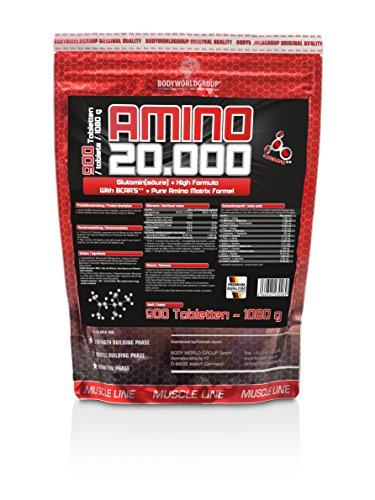 BWG Amino 20.000, Protein Tabletten, Muscle Line, 900 Tabletten, 1er Pack (1 x 1080g Beutel)