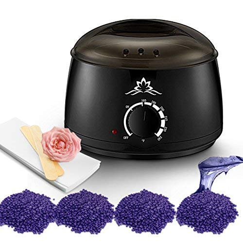 - Wax Warmer | Waxing Hair Removal Kit | Painless DIY Depilatory Machine with 4 Natural Lavender Hot Wax Beads, 10 Wax Applicator Sticks, 20 Waxing Strips for Forearms, Legs, Underarms, Brazilian Bikini