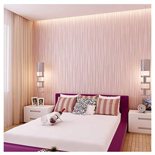 Pink Wallpaper Kids (Blooming Wall:Non-Woven Classic Plain Stripe Moonlight Forest Wallpaper,20.8 In32.8 Ft=57 Sq ft Per Roll,Princess Pink)