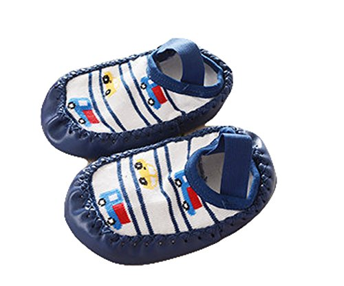 CONVER-X Cute Baby Boys Girls Toddlers Moccasins NON-SKID Indoor Shoes Socks/Slippers (9-18 Months, Blue Car)