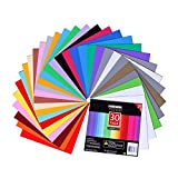 Adhesive Vinyl Sheets - 12'' X 12'' Premium Permanent Glossy Self Vinyl Craft Paper with 2 Clear Transfer Tap for Cricut and Other Cutters (30 Pack)