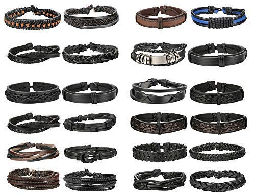 - Finrezio 24 PCS Black Braided Leather Bracelets Set for Men Wrap Cuff Bracelet Adjustable