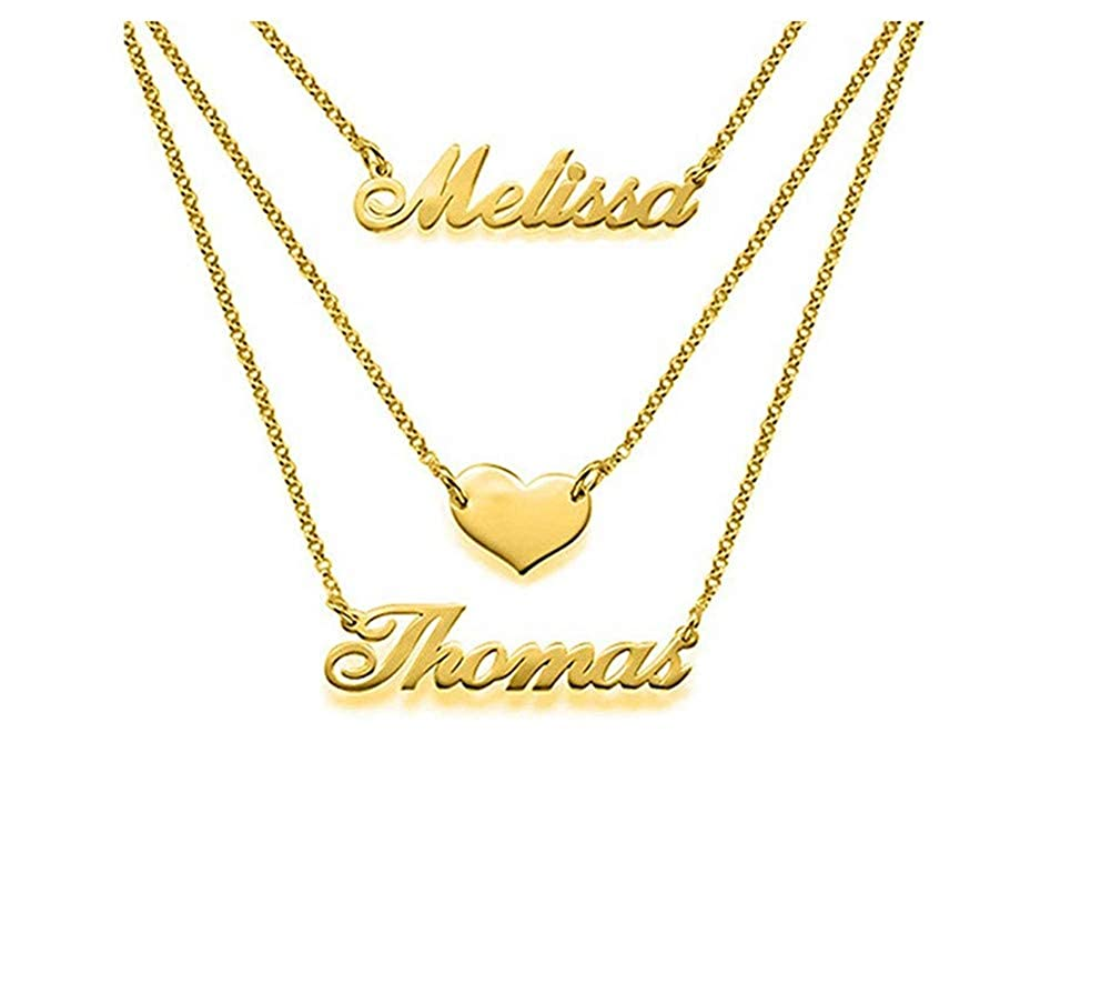 Mothers Day Necklace Personalized 2 Names Silver Heart Tri-Layer Name Necklace Custom Jewelry Gift
