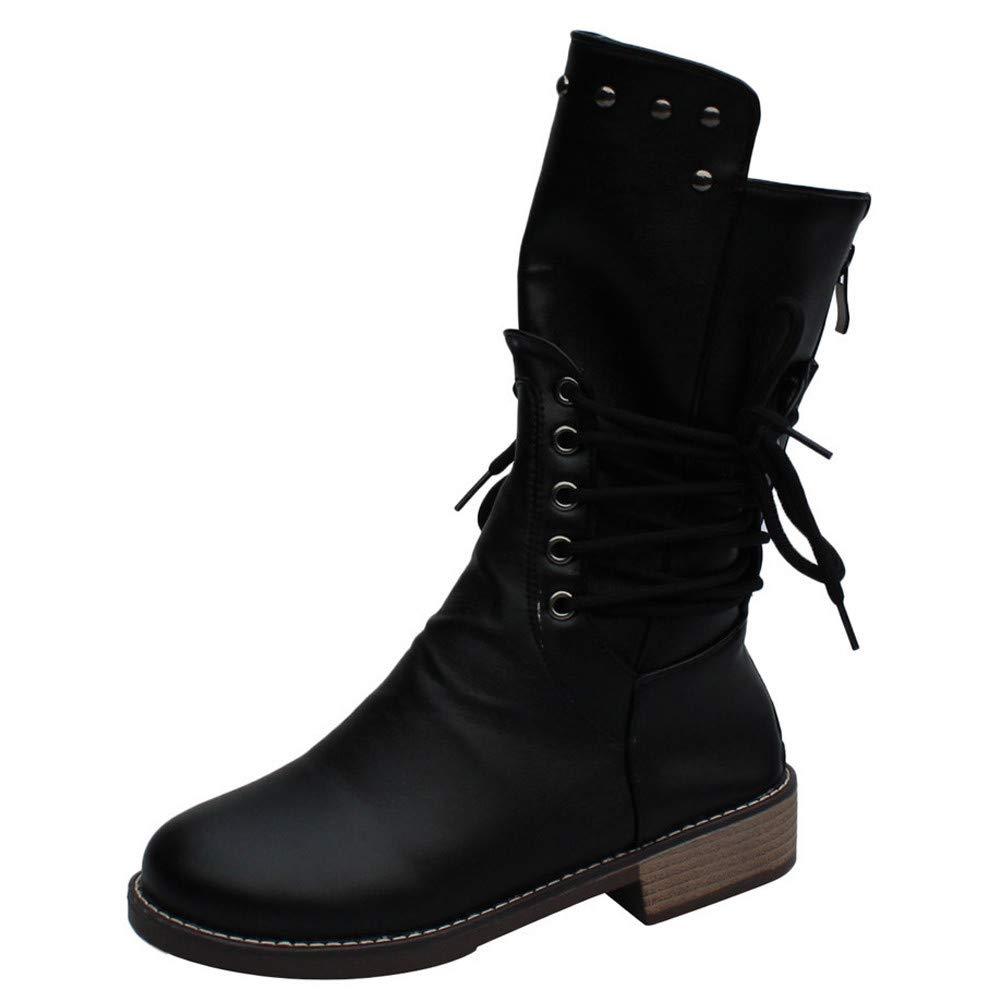 868960ce136 COPPEN Women Martin Boots Square Heel Rivets Shoes Middle Tube Zipper Round  Toe Shoes