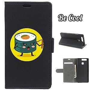 BeCool® - Funda carcasa tipo [ Libro ] Huawei P9 [ Función Soporte ] Sushi ninja con nunchaku