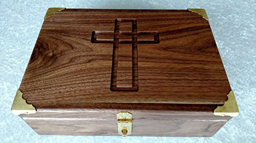 Wooden Bible Box - Walnut Bible Box Book Box or Wooden Keepsake Box