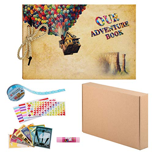 lawrencewang68 Scrapbook DIY Photo Album Memory Book with Embossed Letter Balloon Cover Hand Made DIY Albums 80 Pages (Dream Balloon)