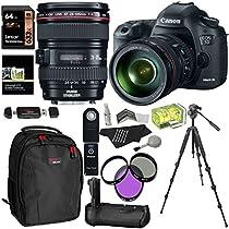 Canon EOS 5D Mark III 22.3 MP Full Frame CMOS Digital SLR Camera EF 24-105mm f/4 L IS USM Lens Kit + Tripod + Ritz Gear USB Reader Writer + Accessory Bundle