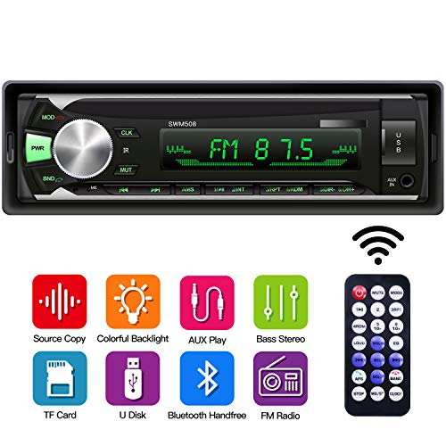 Car MP3 Stereo Player, 1 Din Car Radio Bluetooth Receiver with Source Copy Function, Multicolor Backlight, USB/SD Card/AUX Playback Single Din Autoradio (Radio Receiver Bluetooth)