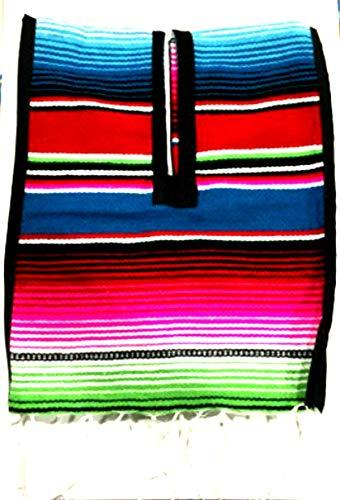 Mexican Poncho Unisex Bright Striped Cotton Mexican Style Sarape zarape Boho Hippie -