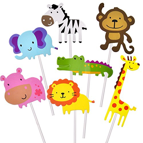 TOODOO 35 Pieces Animal Cupcake Toppers Picks, Zoo Animals Cake Toppers for Baby Child Party Cake Decoration Supplies Animal Cupcakes