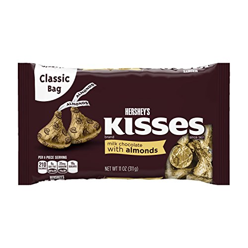 Kisses HERSHEY'S Chocolate Candy with Almonds, 11 Ounce (Pack of 6) -