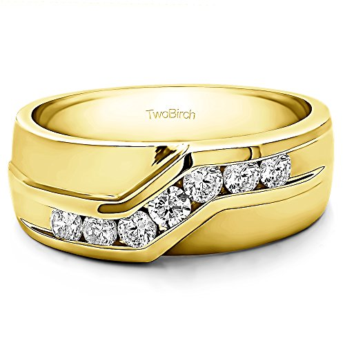 10k Yellow gold Gents Wedding Ring Forever Brilliant Moissanite(0.1Ct)Size 3 To 15 in 1/4 Size Intervals