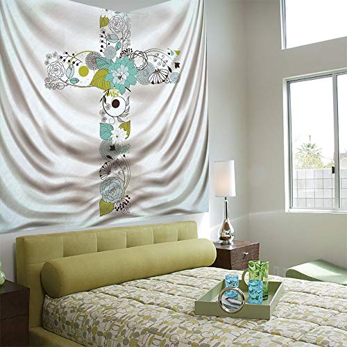 Wall Tapestry Decorative Art Prints can be Hung on The Bedside of Dormitory,Baptism,Cross Made from Flowers Blessing Blossom Newborn Catholic Party Illustration,Seafoam Avocado Green ()