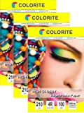 """Colorite Inkjet High Glossy Photo Paper 210 Gsm 4R (4""""x6"""") /100 Sheets x 3 Packs"""