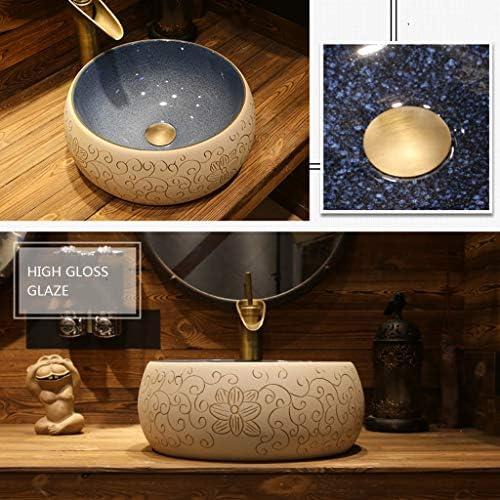 浴室設備アクセサリ 容器シンク浴室容器シンク円卓バスルームのシンクの洗面化粧台ボウルアート盆地セラミックの上カウンター盆地 (Color : B.Sink*1+Faucet*1, Size : 36*15cm)
