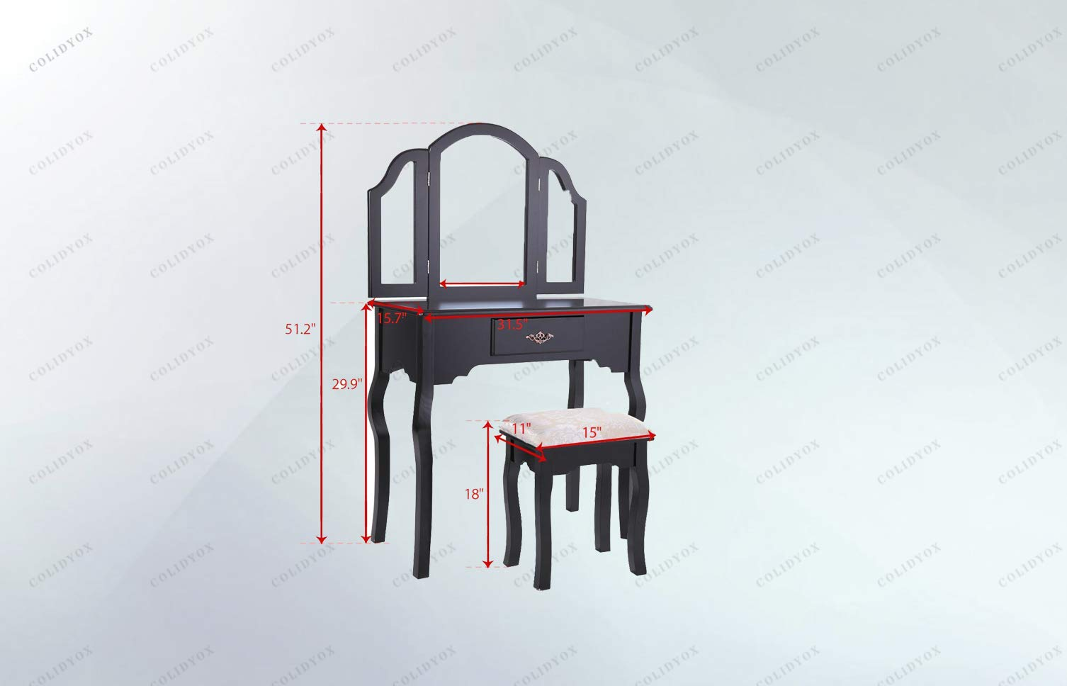 COLIBROX>>>Black Vanity Makeup Table to get Ready Before Going to Work or Hanging Out with Your Friends or Beloved one, a Vanity Makeup Dressing Table Would be Your Best Choice.