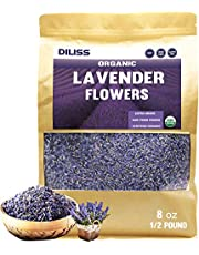 DILISS French Lavender Buds Organic Top Grade Dried Lavender Flower 100% Pure and Natrual Lavender Fresh Fragrance Large Resealable Bag (1/2Pound)